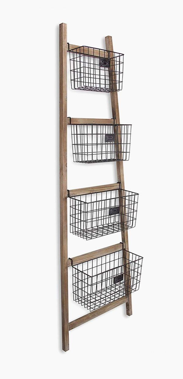 Ladder Shelf With Metal Cage Baskets