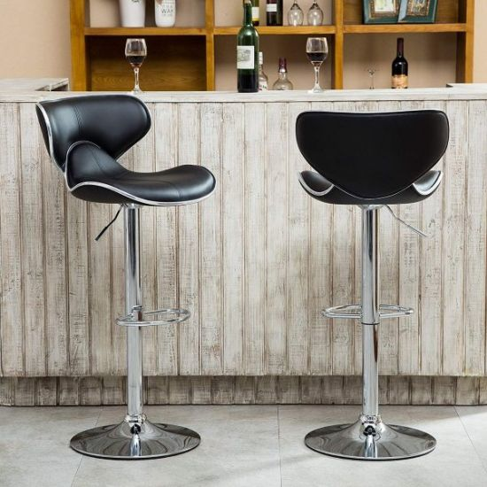 Modern Airlift Adjustable Swivel Bar Stool With Chrome Base