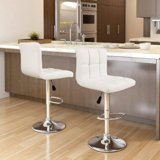 Modern Faux Leather Swivel Stool With Back