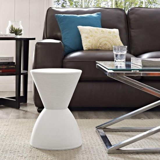 Modern Hourglass Shaped Vanity Stool With Storage