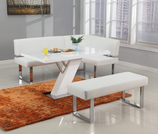 Modern White Corner Dining Bench With Chrome Legs