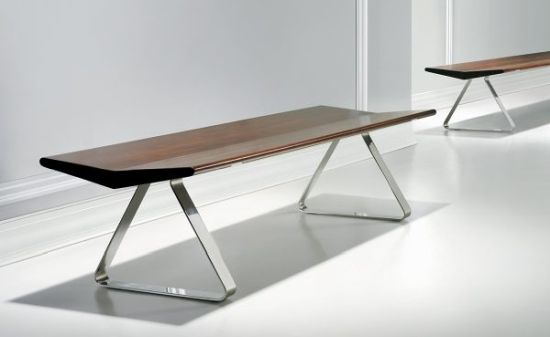 Modern Wood And Stainless Steel Dining Bench