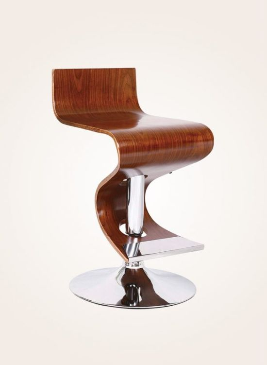 Walnut-finish Swivel Bar Stool