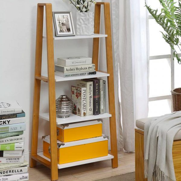 White And Wood Finish Ladder Shelf