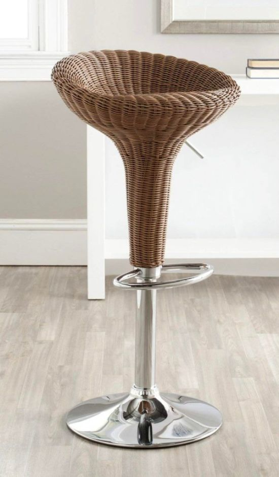 Wicker Swivel Bar Stool
