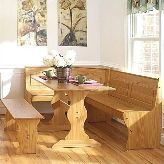Wooden Corner Dining Bench