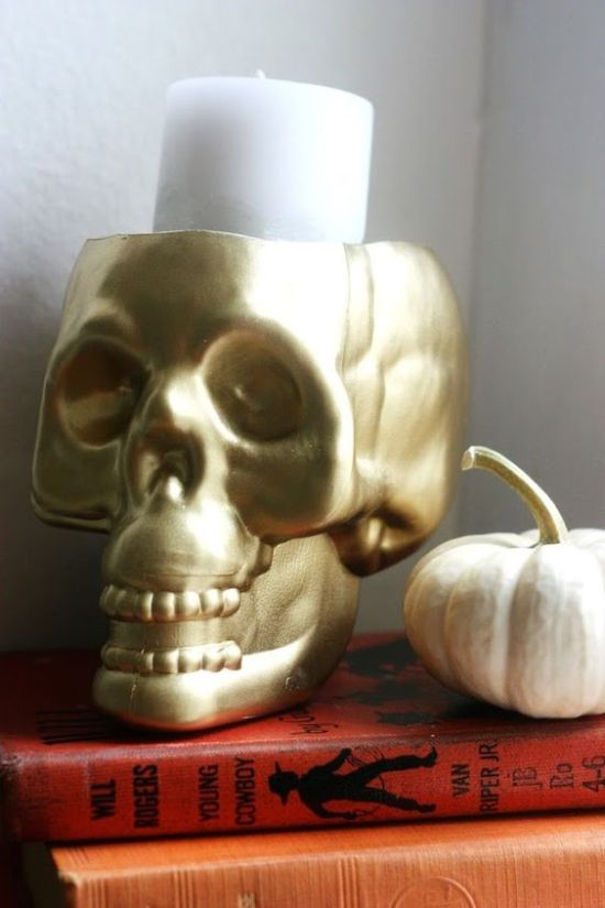 A Gold Skull Candleholder For Diyed And Used Anytime For Halloween Decor