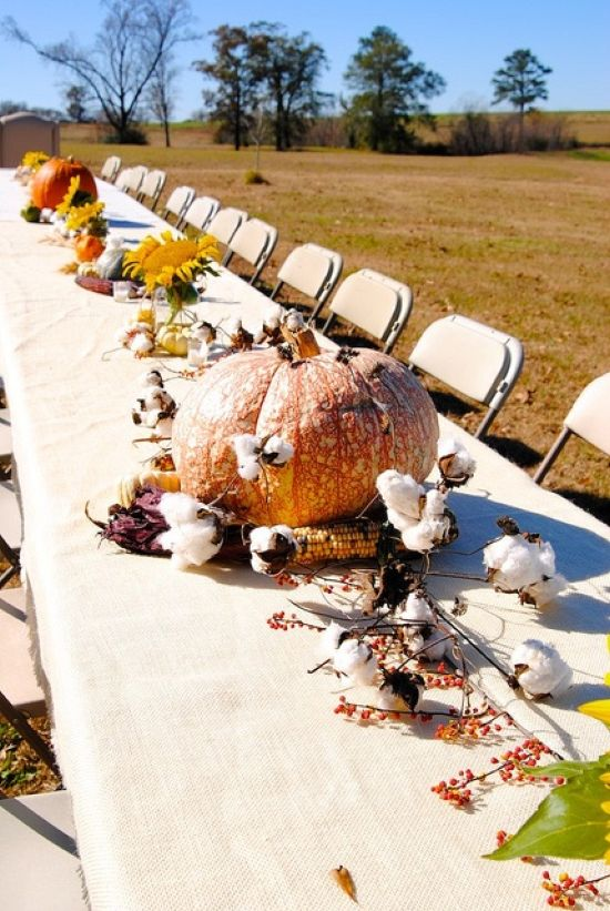 Decorate Your Table With Pumpkins Cotton Corn Cobs And Berries On Branches For A Thanksgiving Party