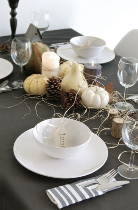 Gourds And Pumpkins Hay And Pinecones Tree Stumps And Simple White Porcelain For A Modern Tablescape