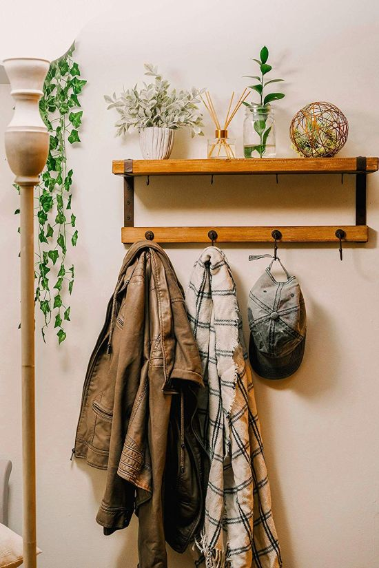 Rustic Industrial Wall Mounted Wooden Coat Rack With Shelf