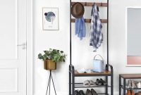 Wood Entryway Bench Coat Rack With Metal Frame