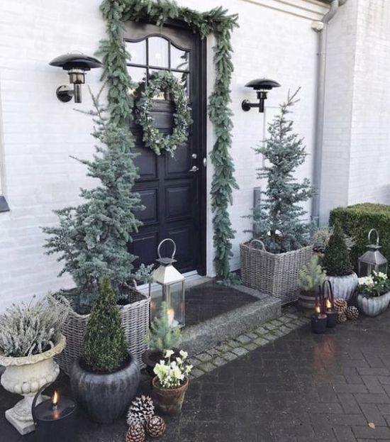 Christmas Front Door Decoration Ideas With An Evergreen Garland And Wreaths