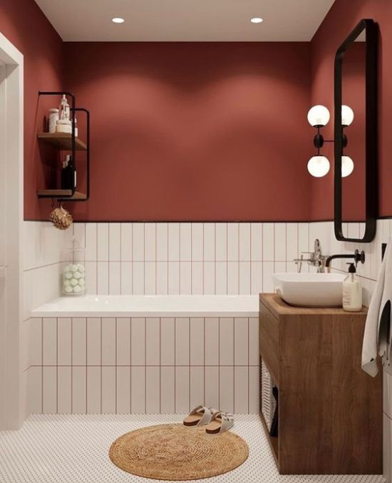 Fall Bathroom Decor Ideas With Burgundy Wall Paired With Neutral Tiles
