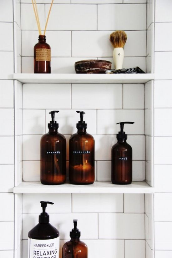 Fall Bathroom Decor Ideas With Elegant And Similar Amber Bottles