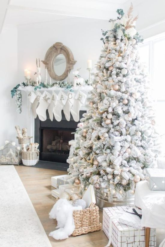 Neutral Winter Home Decor Ideas With A Flocked Christmas Tree With Metallic Ornaments