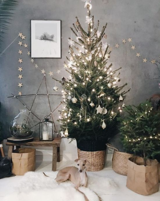 Neutral Winter Home Decor Ideas With A Star Garland And A Star Of Twigs