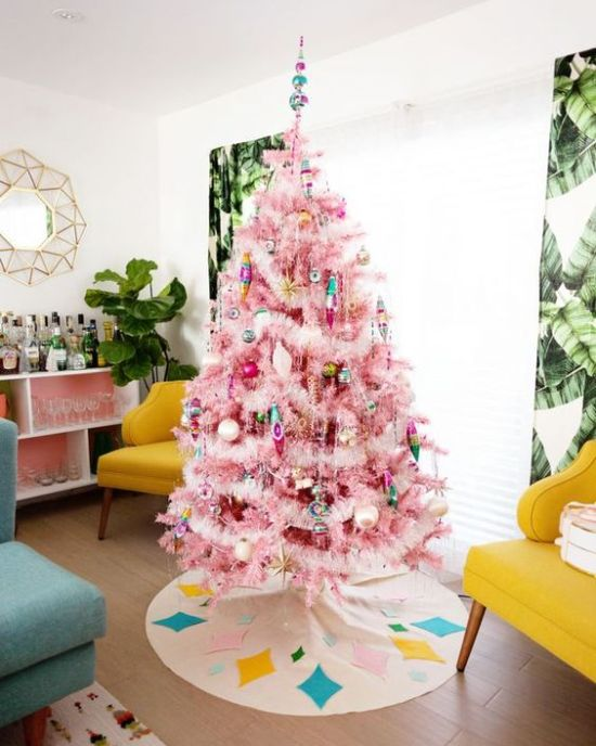 Pink Christmas Tree With Colorful Ornaments And Lights With Gold Touches