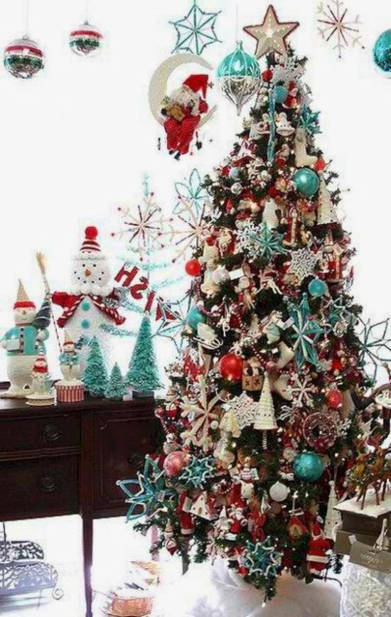 Retro Christmas Tree Decorated With Blue Red And White Ornaments