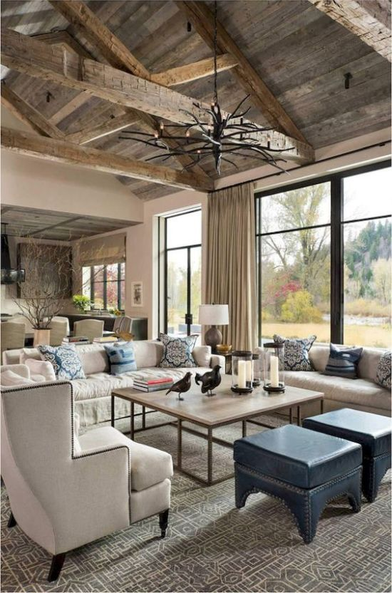 Rustic Living Room Design Ideas With A Reclaimed Wood Ceiling With Beams