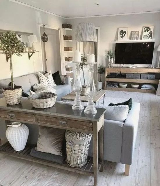 Rustic Living Room Design Ideas With TV Unit And A Coffee Table