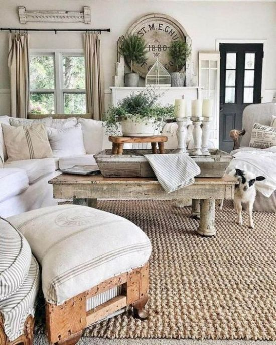 Rustic Living Room Design Ideas With Whitewashed Candleholders And A Jute Rug