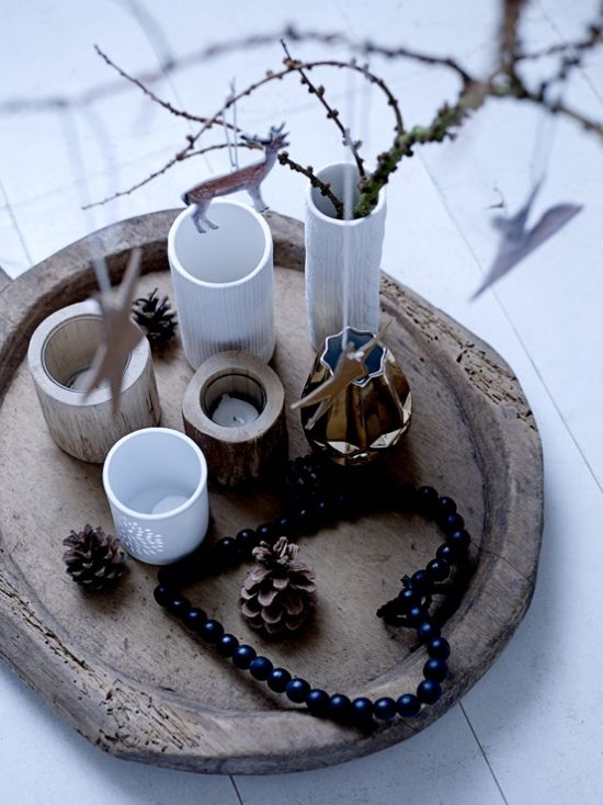 Scandinavian Christmas Decorating Ideas With A Wooden Tray With Wooden And Neutral Candleholders