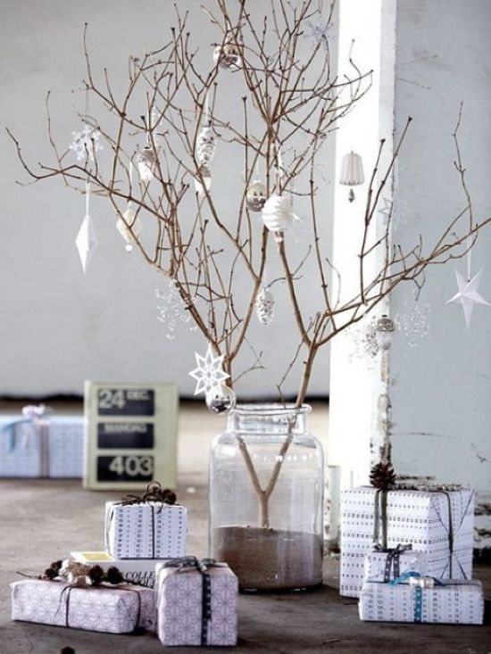 Scandinavian Christmas Decorating Ideas With White Ornaments Of Paper And Glass And Neutral Gift Boxes