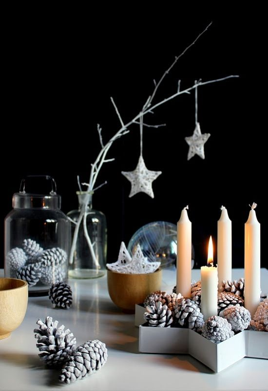 Scandinavian Christmas Decorating Ideas With Whitewashed Branches With Metallic Star Ornaments