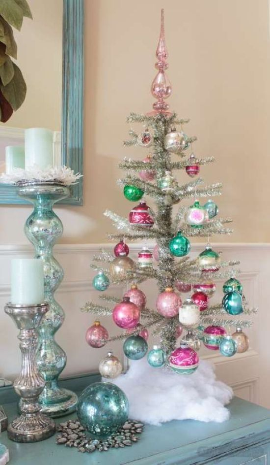 Silver Tabletop Christmas Tree With Bright Pink And Turquoise Ornaments