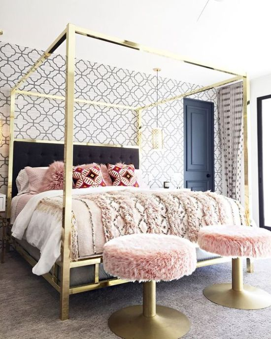 Super Glam And Shiny Gold Canopy Bed