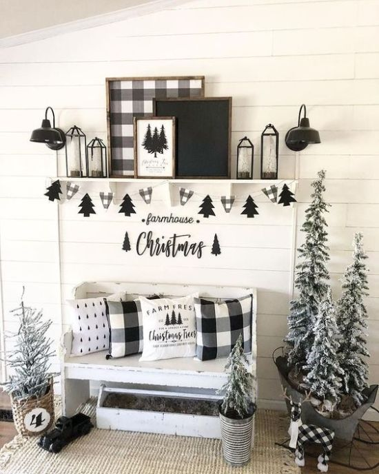 Black And White Christmas Entryway Decor With Buffalo Check Pillows Plus Buntings And An Artwork