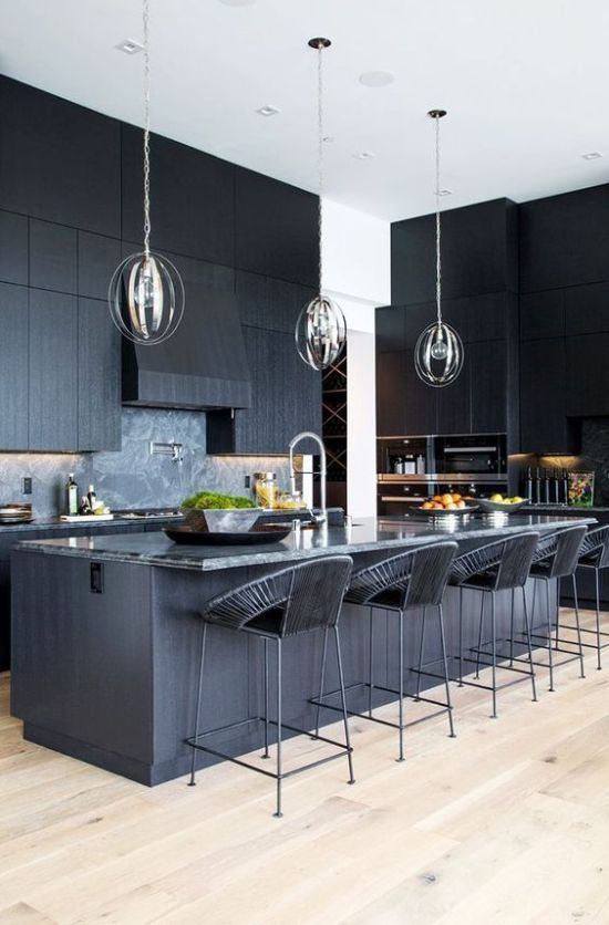 Black Masculine Kitchen With Textural Cabinets