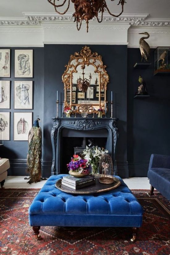 Chic Living Room With Classic Blue Ottoman
