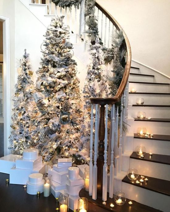 Chic Winter Fairy Tale Entryway With Tree Flocked Christmas Trees