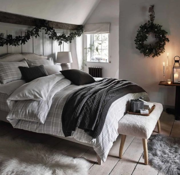 Christmas Bed Decor With Simple Greenery Garland And Wreath