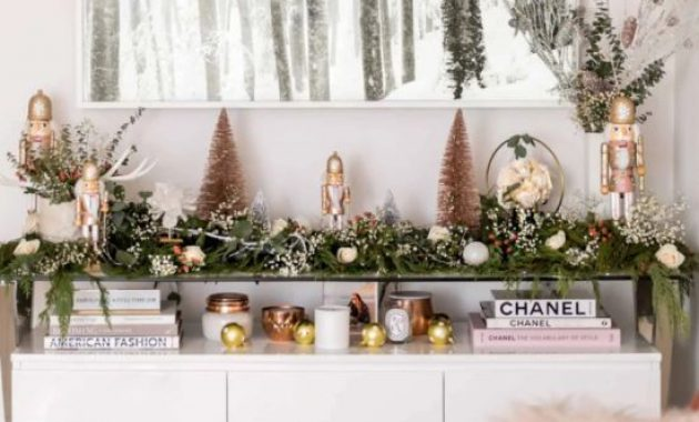 Christmas Console Table Décor With Greenery Garland With White Blooms