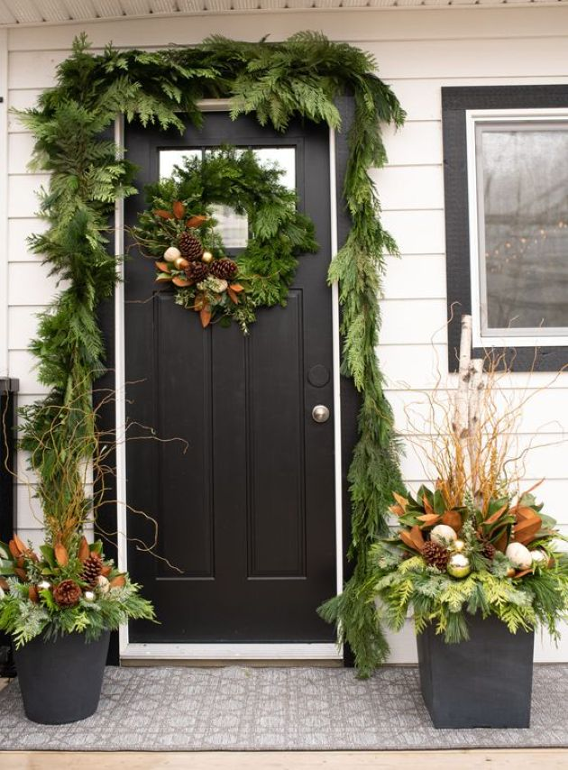 Christmas Doorway Decor With Greenery Garland And Ornaments