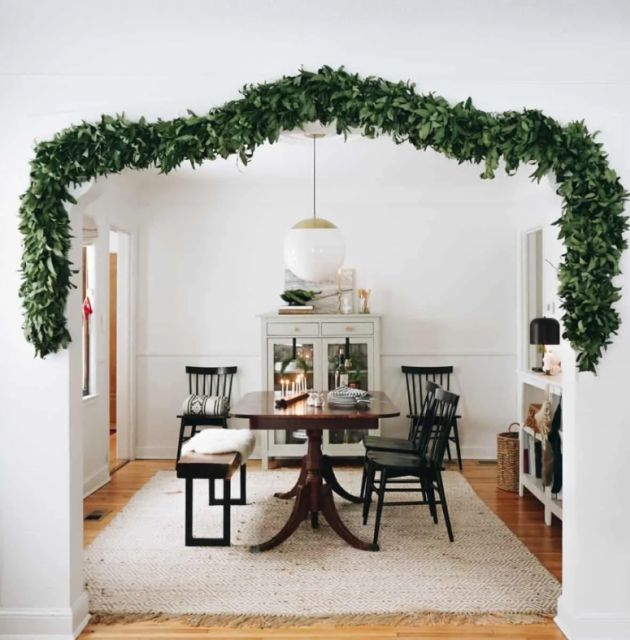Christmas Doorway Decor With Lush Greenery Garland