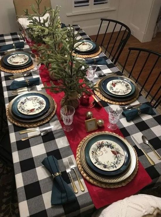 Christmas Home Decor With Buffalo Check Tablecloth With A Red Runner