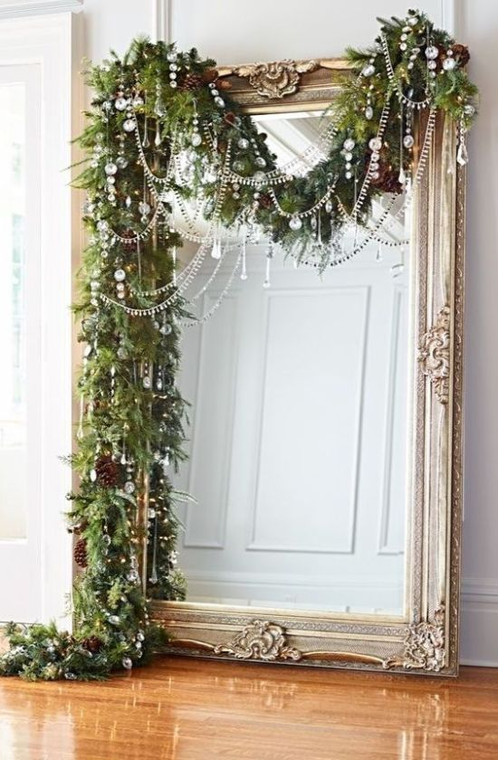 Christmas Large Mirror Decor With Lush Evergreen Garland With Pinecones