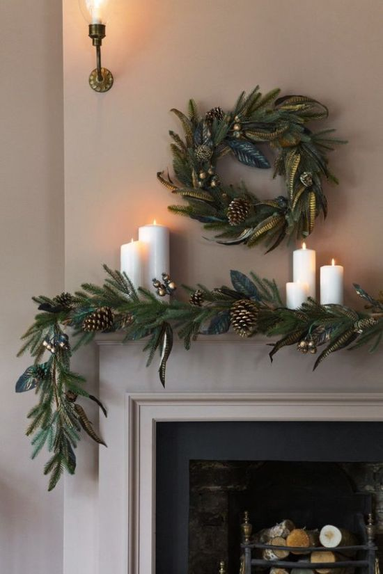 Christmas Mantel Decor With Greenery Garland