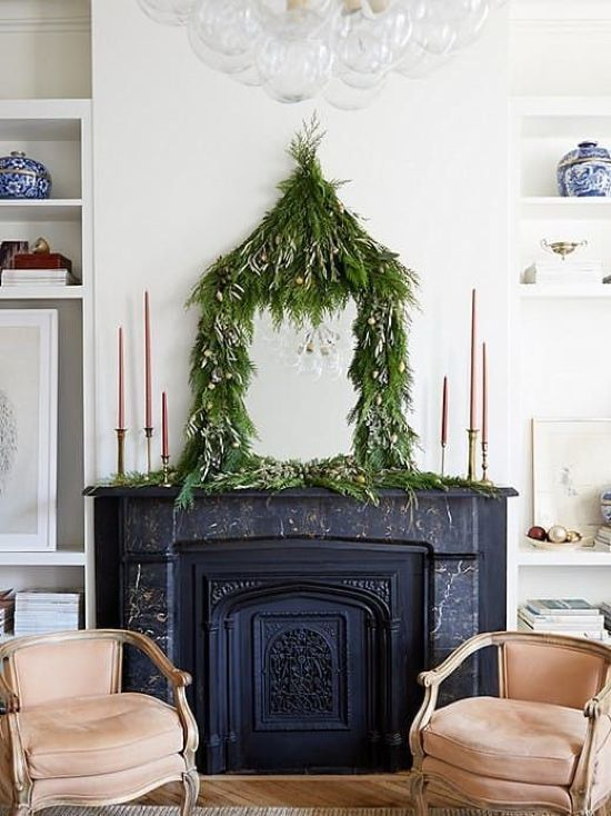 Christmas Mirror Decor With Lush Greenery Garland With Mini Ornaments