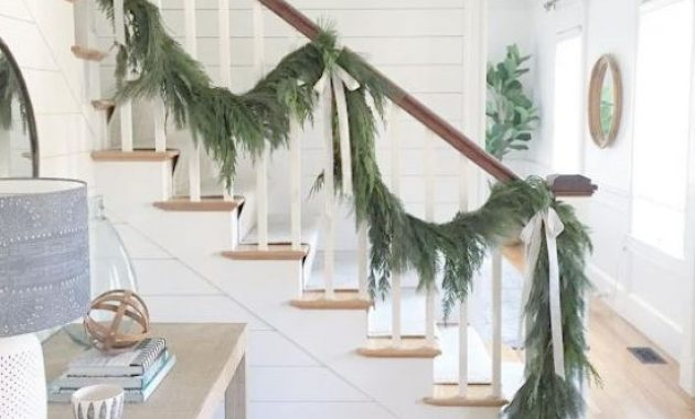 Christmas Railing Decor With Evergreen Garland With Neutral Silk Bows