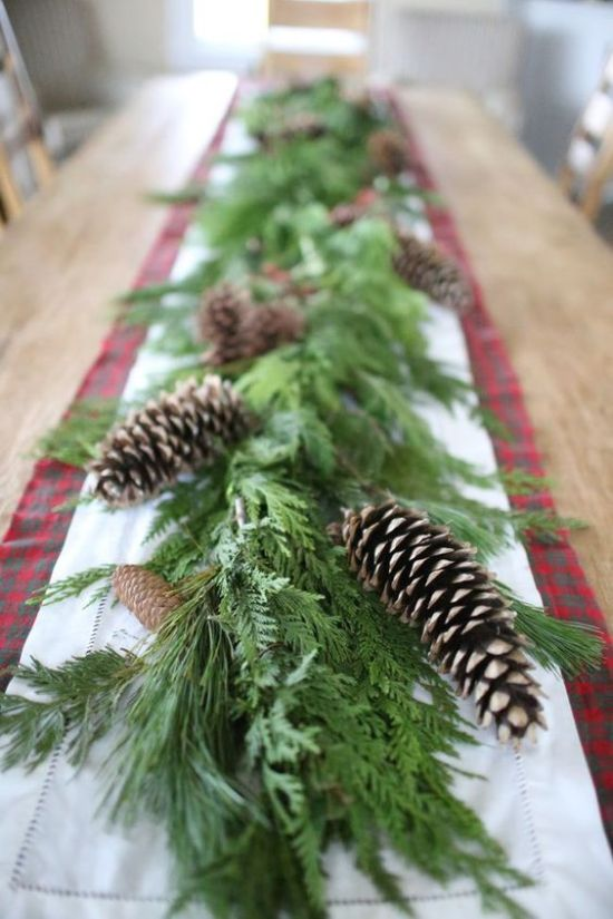 Christmas Table Decor With Lush Greenery Garland With Pinecones