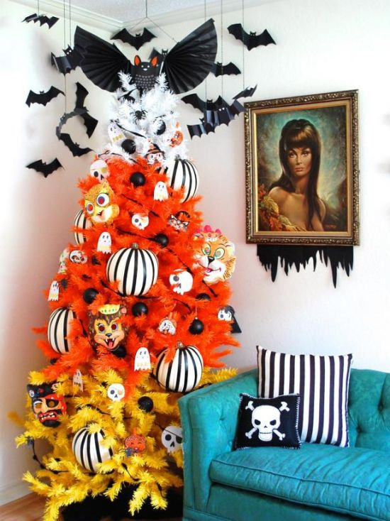 Christmas Tree Decorating Idea With Halloween Stuffs