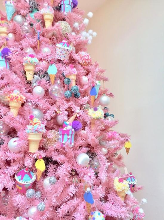 Christmas Tree Decorating Idea With Ice Cream Ornaments