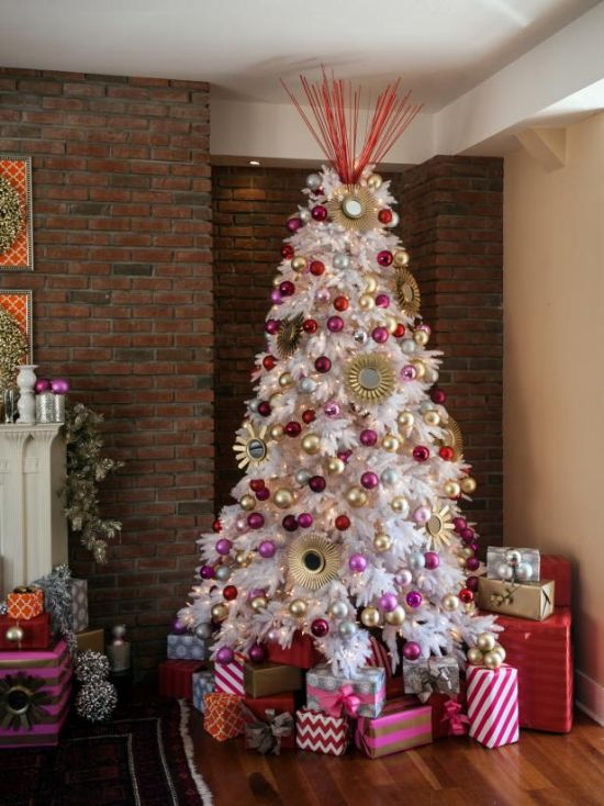 Christmas Tree Decorating Idea With Mini Gold Sunburst Mirrors And Pretty Pops Of Pink