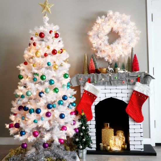 Christmas Tree Decorating Idea With Purple And Pink Ornaments In Color-Blocked Sections