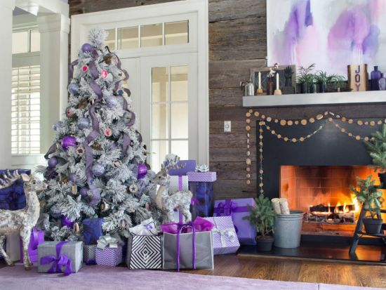 Christmas Tree Decorating Idea With Stunning Flocked And Lavender Tree