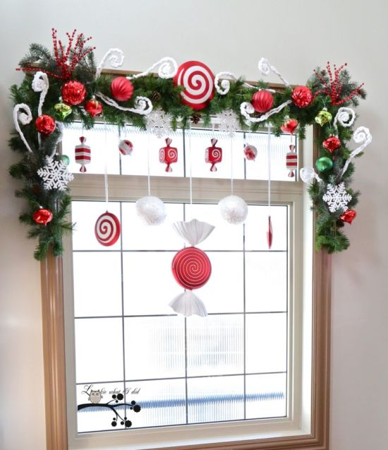 Christmas Window Decoration Ideas With Faux Candies In Red-White Tones